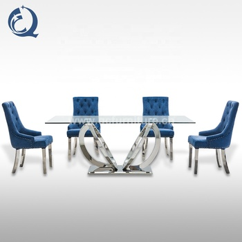Modern designs tempered glass top metal stainless steel frame dining tables set for dining room