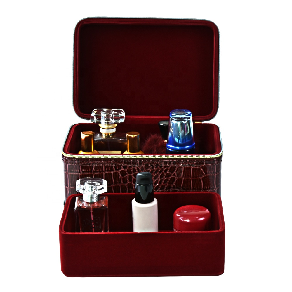 Wholesale Wooden Vintage Jewelry Wooden Red Leather Cover Cosmetic Makeup Kit Box for Female with zipper