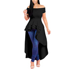 9155 Fashion Elegant Cocktail Off Shoulder Short Sleeve Top High Waist Plus Size Irregular Ruffle Hem Evening Dress for Women