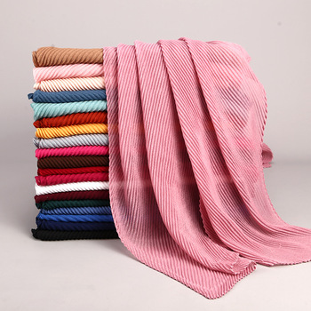 New fashion hijab 2020 twill embossed pleated scarf cotton and linen headscarf