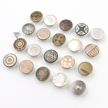 Custom logo cloth clothing 17MM embossed vintage brass silver denim jeans buttons and rivets for garment