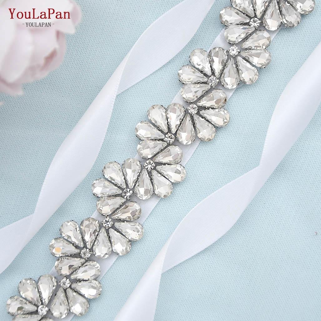 YouLaPan S291 Generous Scalloped Shape Diamond Sash Belt,Royal Blue Satin Ribbon Beaded Bridesmaid Dresses Wedding Sashes