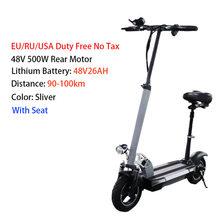10 дюймов 48 в 500 Вт взрослый Электрический скутер сиденье 100 км дальность Жира Шины Электрический скейтборд ЖК-дисплей электрико Patinete(Китай)