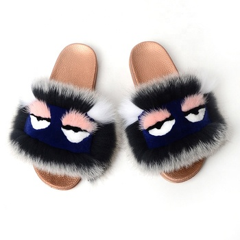 2019 Women's slipper custom size and color fox slides long hair real fox fur slides slippers