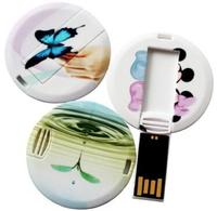 Promotional Super Thin Round Shape USB Flash Card 2GB 4GB 8GB 16GB Memory Stick Drive With Full LOGO