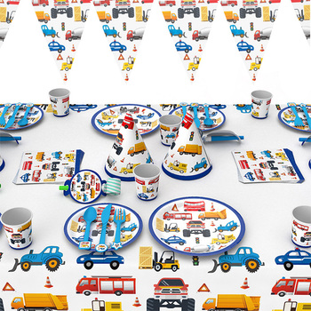 cartoon cars Party disposable tableware Plate Napkin tablecloth Cup Construction vehicle Birthday Party Supplies decorations