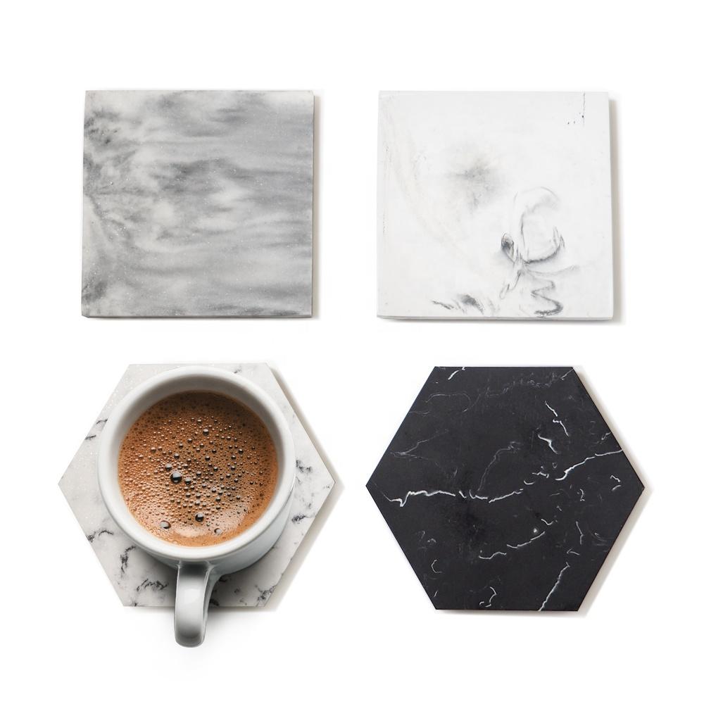 Suanti 4PCS custom polyersin swirl coaster table wine coffee cup mat tea drink hotel luxury resin marble coasters set
