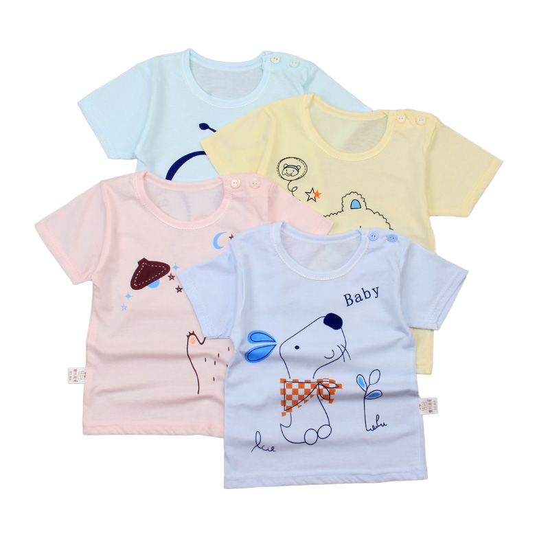 Baby underwear within 3 years old 100% organic cotton children's lovely cartoon printed short sleeve top summer 2020