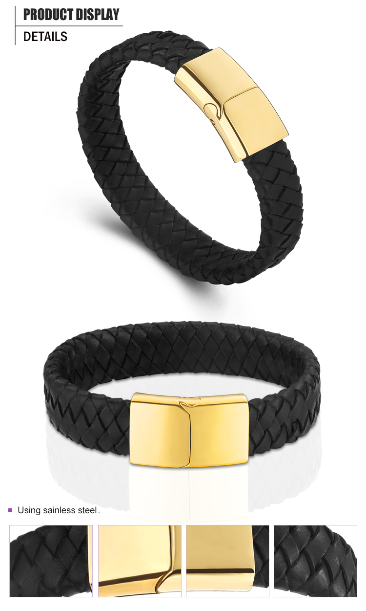product-BEYALY-Gold Clasp Men Black Leather Custom Woven Friendship Bracelets-img