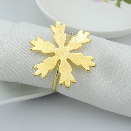 LJQ003 Popular selling Christmas table decoration metal gold silver snowflake napkin rings