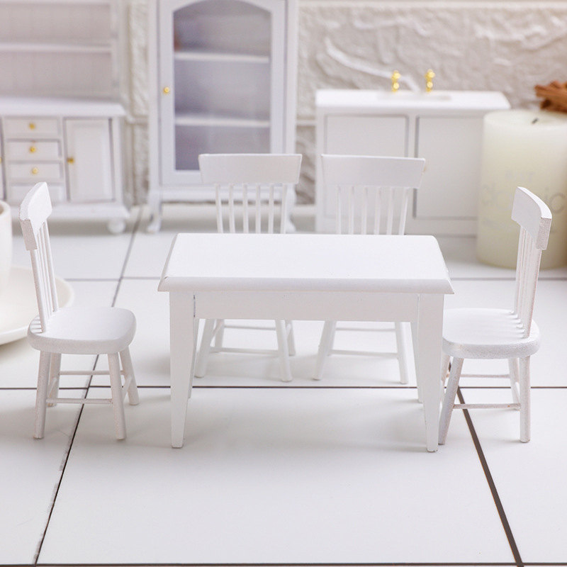 1:12 Dollhouse Miniature Furniture White Dining Table Chair Model Set 5pcs