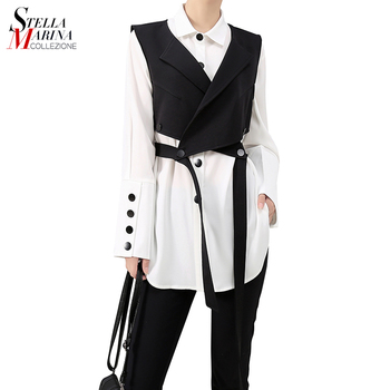 New Korean Style Long Sleeve Solid White Two Piece Set Blouse Shirt Ladies Design Office Suit Shirt With Vest