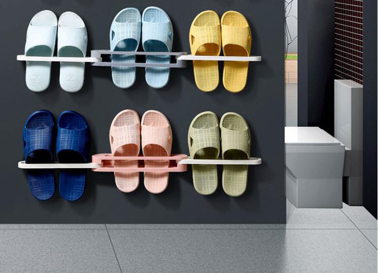 Hot sale Waterproof Bathroom Slippers Telescopic Door Shoe rack shoe rack for living room Plastic Stylish Wall Mounted Shoe rack