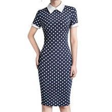 Offres Spéciales femme à pois manches courtes chemise <span class=keywords><strong>robe</strong></span> <span class=keywords><strong>midi</strong></span> AYS-B518