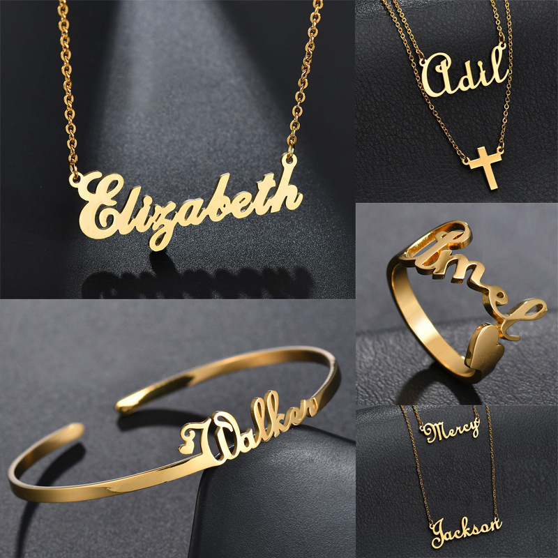 Hot Selling18k Gold Plated Customized Pendant 316L Stainless Steel 3D Personalized Name Custom Letter Rose Gold Necklace Models
