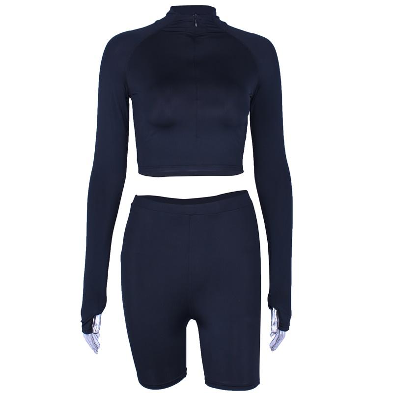 Укороченный топ и шорты, комплект из двух предметов, Клубная летняя одежда, сексуальная одежда, женские комплекты и байкерские шорты, неонов...(Китай)