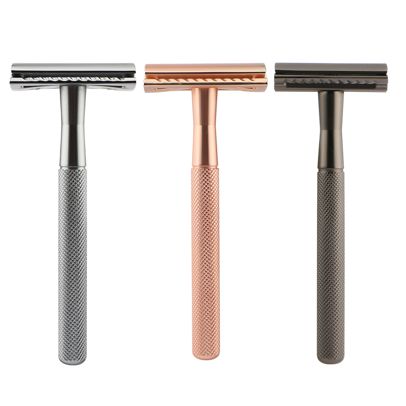 Haward D657 Classical safety razor 3 piece metal handle rose color razor double edge blade razor