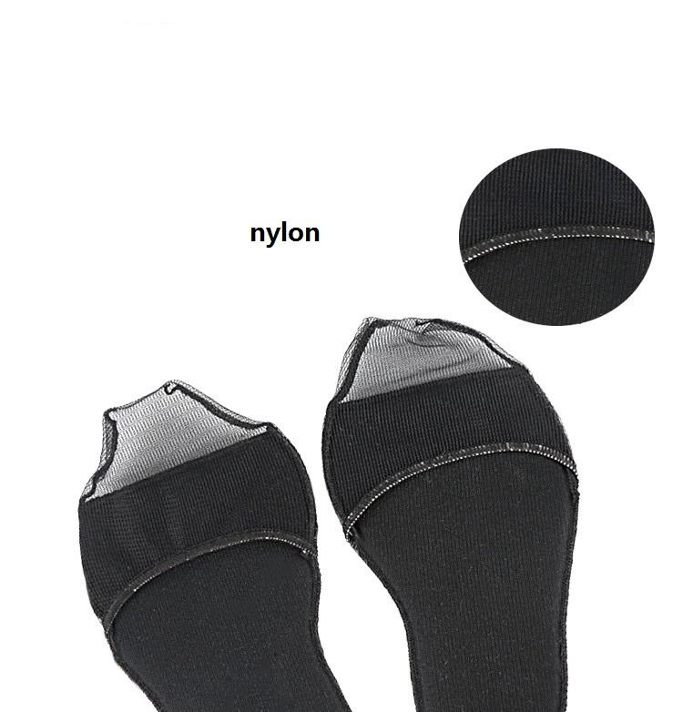 Pailike-Femmes Dames Comfy Dentelle Éponge Semelles Avant-Pied Invisible Chaussures À Talons Hauts/Antidérapant Demi-Yard Plaquettes noir