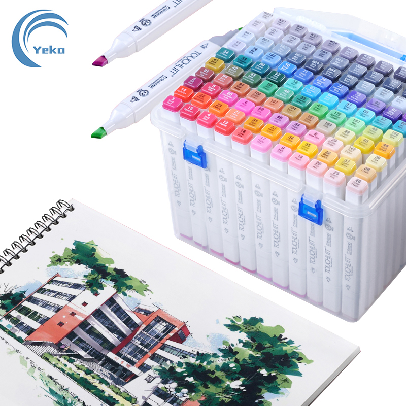 30/40/60/80Pcs Alcohol markers Manga Drawing Markers Pen Alcohol Based Non Toxic Sketch Oily Twin Brush Pen Art Supplies