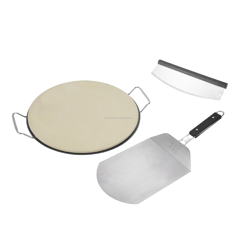 Memasak Sempurna Pizza Stainless Steel Pizza Stein Pegangan Nampan 13 Inch Pizza Stone