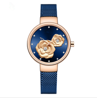 Cheap price 2020 Good Quality Chic Women Embossed Flower Dial Stylish Blue Waterproof Mesh Strap Ladies Watch