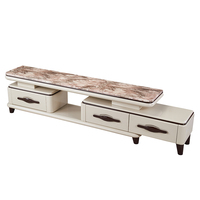 New Model Modern Elegant Style Marble White TV Cabinet Stand With Drawers and Showcase