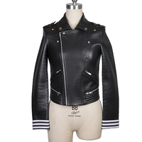 Wholesale Casual Elegant short windproof leather coat women Bomber Leather Jacket