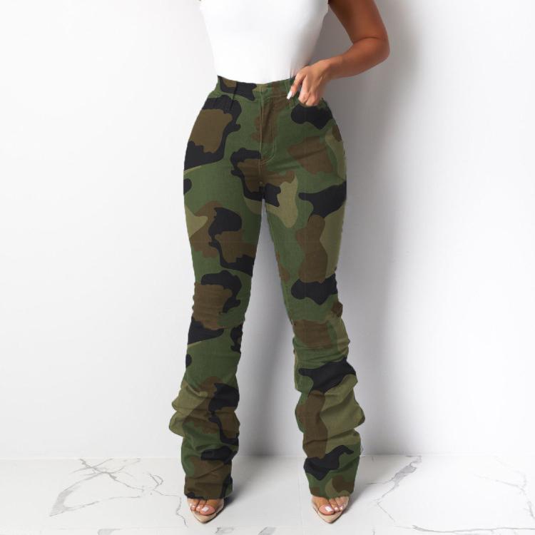 Mode camo empilés maigre en denim jeans femmes