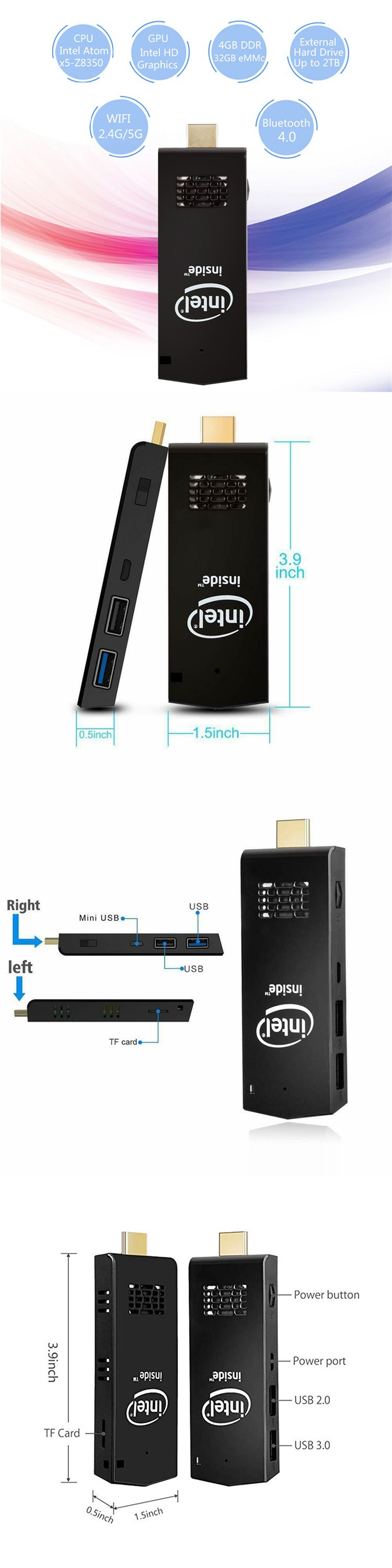 2.4G/5G wifi cheap mini pc 4 nic hd stick T5 external hard drive up to 2TB