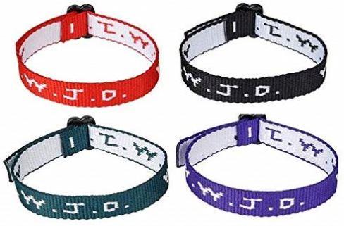 Black WWJD Bracelet, Religious What Would Jesus Do Bible Bookmark Gifts WWJD Sunday woven logo jacquard bracelets