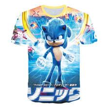 Футболка с объемным принтом для мальчиков и девочек, летняя одежда для детей с героями мультфильма «Ежик Марио», 2020(Китай)