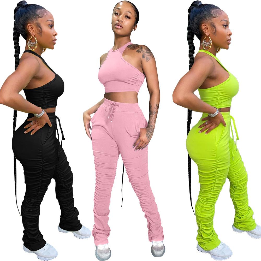 2020 das mulheres Conjunto Pedaço Jumpsuits Rompers Roupas Femininas Roupas Empilhadas Empilhados 2 Calças Basculador Sweatpants