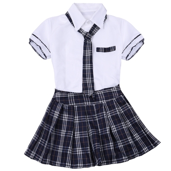 iEFiEL Women Schoolgirls Sailor Uniform Japanese Anime Roleplay Costume Outfit Tie Plaid Mini Skirt Fancy Costume
