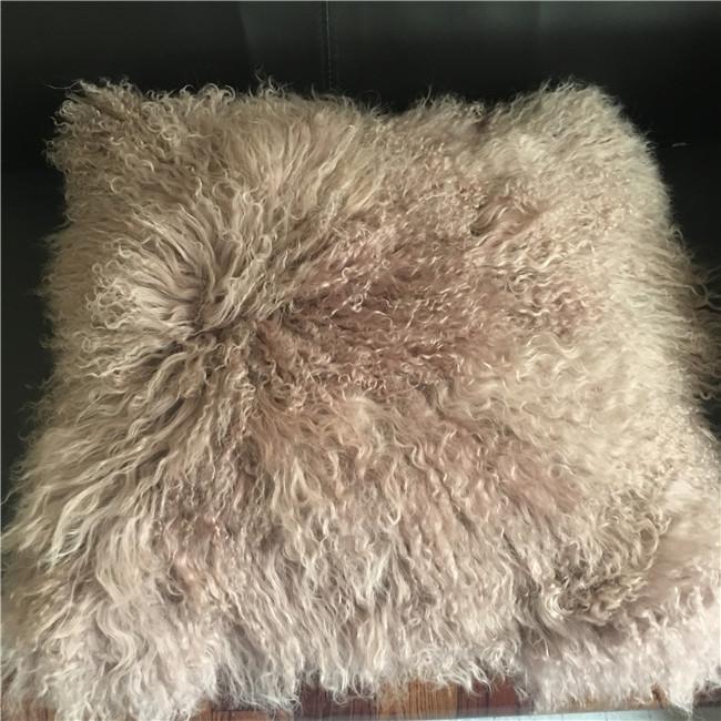Long curly hair mongolian tibet fur cushion