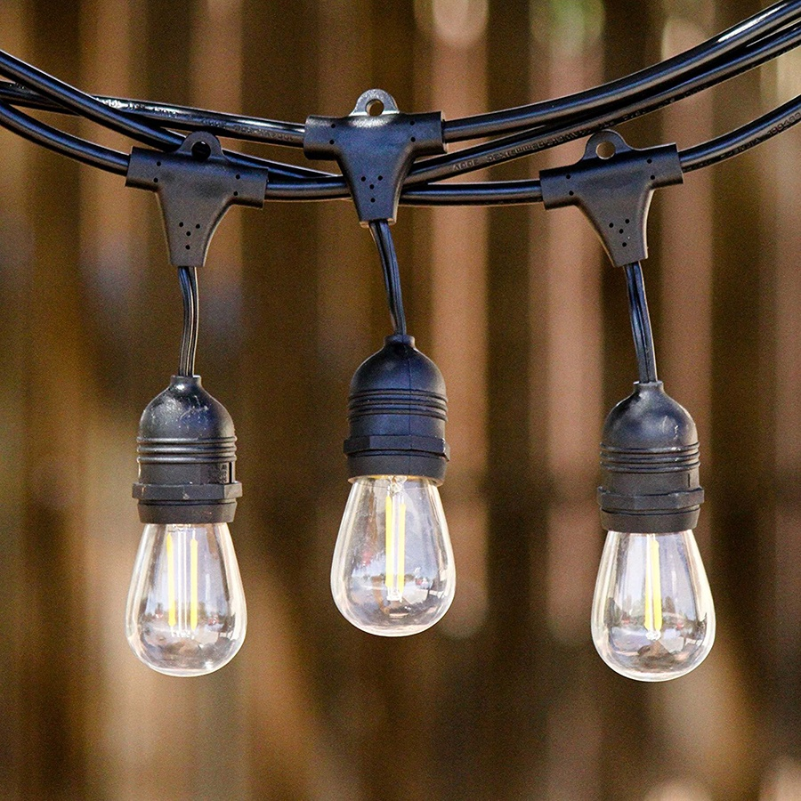 Luces de navidad E27 Hanging Bulb Sokcets PVC Cover IP65 Waterproof Garden Backyard Decoration Outdoor Globe String Light