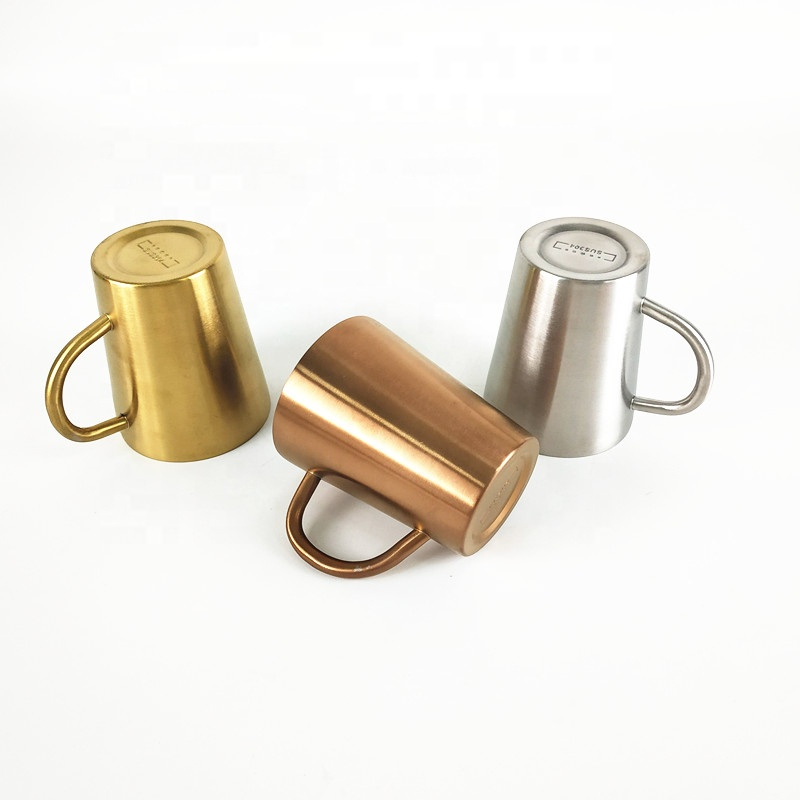 Custom logo 14oz Food grade Metal coffee cup 304 copper double wall Stainless Steel coffee mug