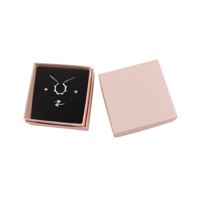 7.3*7.3*3.5 CM Pink Paper Boxes With Diamond Logo Earring Ring Necklace Bracelet Pendant Jewelry Set Box For Women