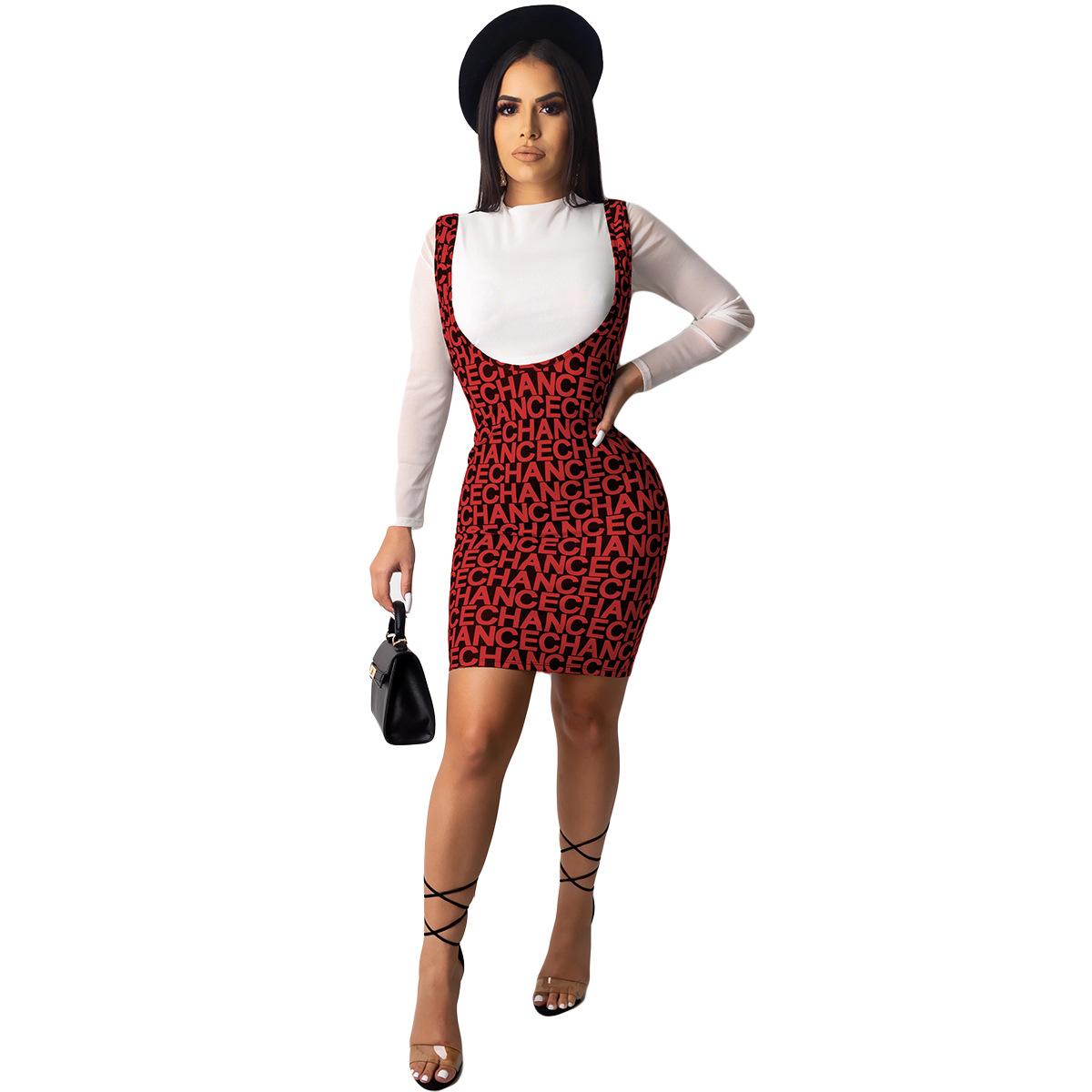 ANJAMANOR, модный принт, длинный рукав, комплект из двух частей, юбка, женская осенняя и зимняя одежда, 2020, сексуальная, 2 предмета, Клубная одежда, ...(Китай)