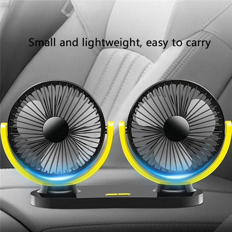 Factory Price 360 Degree Adjustable Portable Car Cooler Fans Universal Double Head Electric Mini Usb Car Dual Cooling Fan