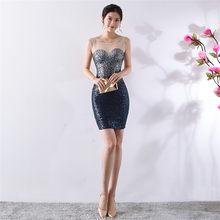 Платье для выпускного вечера It's Yiiya DX400 сверкающие блестки размера плюс Vestidos De Gala Иллюзия кристалл без рукавов короткое платье для выпускног...(Китай)