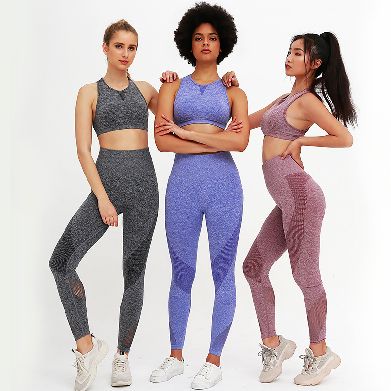 2020 Women Gymwear Fitness Wear Padded Bra Crop Top Legging Seamless Yoga Set 7