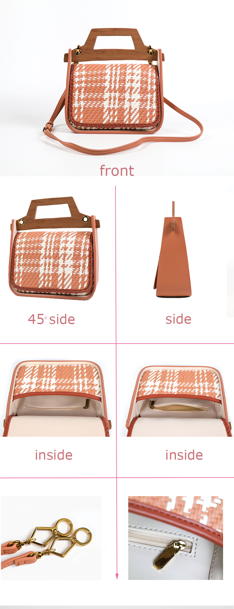 hot selling wood handle woven classic ladies pu leather hand bags elegant women handbag purse