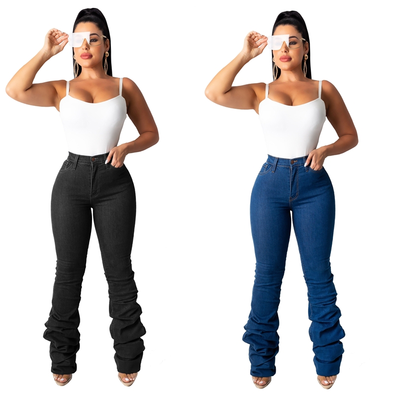 Factory latest design high quality goods in stock women jeans with great price