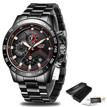 Мужские часы LIGE, новые модные мужские часы, топ-бренд, Роскошные наручные часы, кварцевые часы, черные часы, мужские водонепроницаемые часы с...(China)