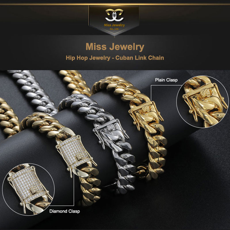 Miss Brand Cuban Link Bracelet Hip Hop Jewelry Cubic Zirconia 14k 18k Gold Plated Necklace Diamond Zircon Trend Iced Out Chain