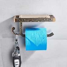Набор аксессуаров для ванной, черный бумажный держатель для мобильного телефона, алюминиевый античный держатель для рулона с полкой, короб...(Китай)