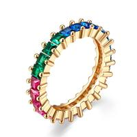 BAGREER YIR233 Fashion Colorful CZ Stone Zircon Rainbow Rhinestone Gold Plated Boho Style Brass Rings Jewelry Women Party
