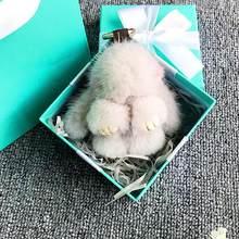 Новинка 2019, милый плюшевый мини-брелок с кроликом из натурального меха норки 10 см, сумка для девочек, автомобильный брелок, помпон, подвеска, ...(Китай)