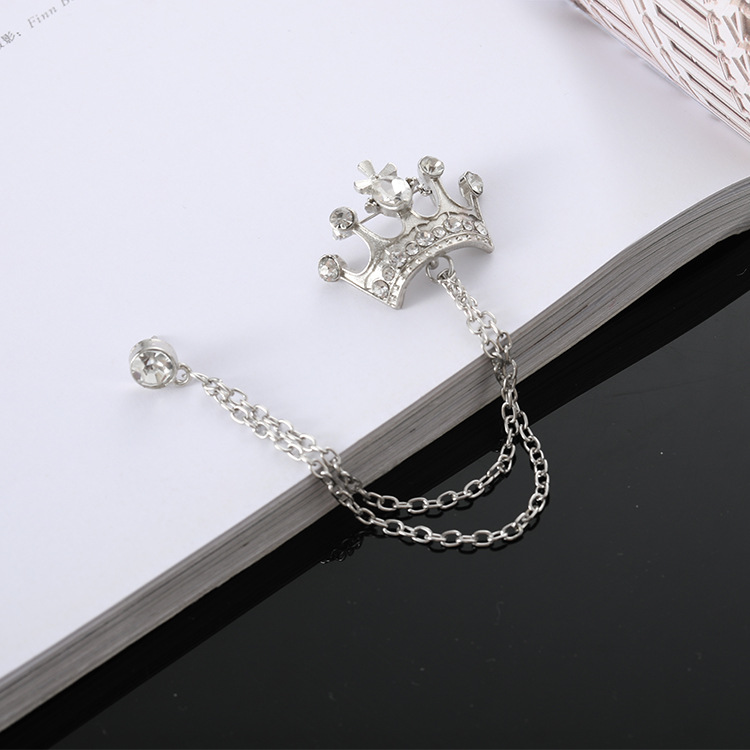 British style suit chain pin badge retro brooch men's crown brooch