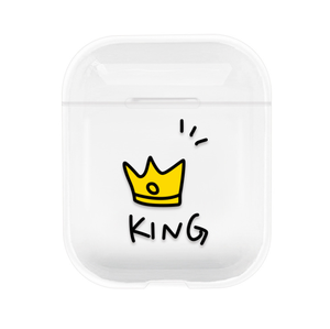 Queen King for Airpods Case Cartoon Protective Hard Cover Transparent Wireless Headphone Cases